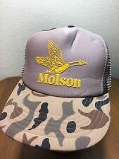 Vtg MOLSON BEER GOOSE Camo Baseball Cap SnapBack Trucker Hat 80's