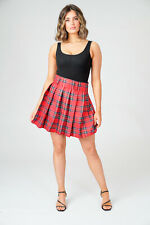 Red Tartan Mini Skirt Women's Ladies Pleated Plaid Short Party Club 18'' inch
