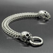 Franco Snake Bone Chain Biker Bracelet Mens Silver Stainless Steel Gothic Skulls