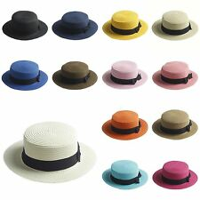 Adult Kids Boater Hat Bowknot Straw Hat Summer Jazz Beach Sun Sailor Cap 2 Sizes
