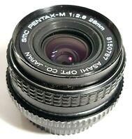 Asahi SMC Pentax-M 28mm f2.8 Wide Angle Prime Lens with Caps Box UK Fast Post
