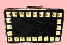 FRANCHI Black Studded LA SERA Velvet Minaudiere Convertible Clutch Shoulder Bag