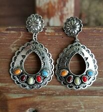 Cowgirl Gypsy turquoise concho multi  EARRINGS  Southwestern Rodeo western