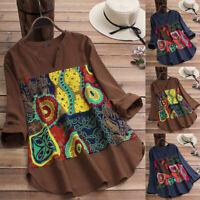 Women's Long Sleeve Floral Print Asymmetrical Hem Blouse Round Neck Shirt Tops
