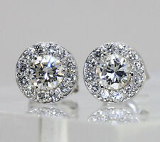 NEW Diamond stud earrings 14Kwg  rd brilliant halo G color .26C cntrs.82CT TW