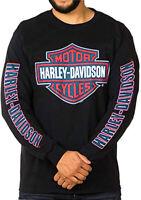 Harley-Davidson Mens Red White & Blue B&S Logo Black Long Sleeve Biker T-Shirt
