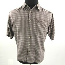 The North Face Button Front Shirt Mens Medium Brown Plaid Short Sleeve