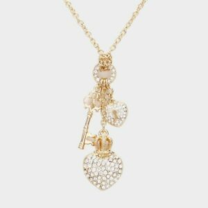 Gold Heart Lock Key Charm Necklace Pendant Style Rhinestone Filled Chain Jewelry