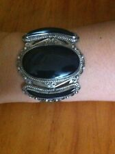 Gorgeous Old Pawn Huge Onyx & Sterling Silver Cuff Bracelet