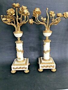 Pair Antique French Bronze Dore Rosebuds Rose Marble Candle Stick Candelabra