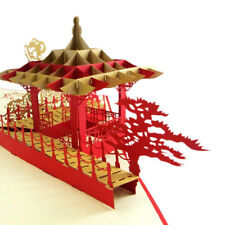 3D Pop UP Card Chinese Pavilion Holiday Greeting Card Creative Gift Card Red 1Pc