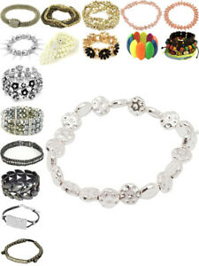 Womens Bracelet Diamante Beads Crystal Charm Flower Ladies Jewellery Gift New