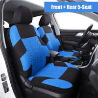 Blue Washable Embroidery Car SUV Seat Cover 5 Seat Cushion Universal Interior
