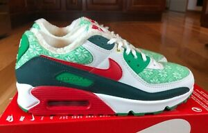 Nike Air Max 90 Christmas Sweater White University Red Green DC1607 100 Size 12