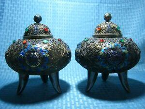 Pair Large Antique Chinese Export Gilt Silver Filigree Jade Enamel Box Marked
