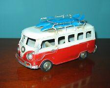 "VW Bus Model 6 1/2"" Long RED SURFER MODEL- Tin Model  LOVE, PEACE and WOODSTOCK!"