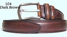 New Men's Beautiful Italian Leather Dark Brown Dress Belt Size 40-43