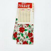 Vintage Christmas Tissue Paper Gift Wrap Poinsettia Old Store Stock Made USA New