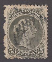 """Canada Scott #26iv  5 cent perf 11 3/4 x 12 olive green  """"Large Queen""""  F *"""