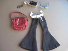 Jeans + Glasses + Backpack + Black Earring + Brush for Bratz