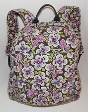 VERA BRADLEY PLUM PETALS BACKPACK Purple White Flowers Brown Quilted Pre-Owned