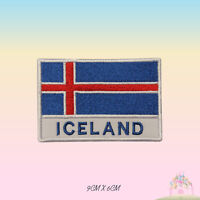 Iceland National Flag With Name Embroidered Iron On Patch Sew On Badge Applique