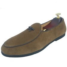 Men's Leather Slippers Loafers Belgian Dress Shoes Slip on Flats With Bowtie New