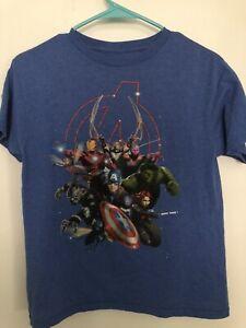 Boys Blue Marvel Avengers T Shirt, Size 10/12