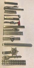 Vintage Tie Clip/ Bar Lot of (15) Silver Tone