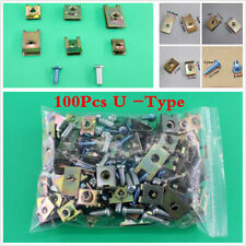 100Pcs Car Fastener Fixed Screw U Type Gasket Clips For Car Door/Panel/Fender