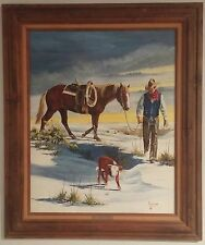 REDUCED!!  Amazing painting of a cowboy, horse/calf. Incredible detail. Signed