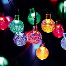 Solar Garden Lights String Fairy 30 Multi Colour LED Crystal Globe Ball Lighting