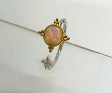 Sterling Silver 925 Genuine Coober Pedy Precious Solid White Opal Ring