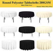 Round Polyester Tablecloths 200GSM Table Cover Cloth Economy Home Décor Living