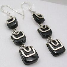 "925 Sterling Silver Natural BLACK ONYX BESTSELLER Dangle Earrings 2 3/8"""