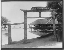 OUTRIGGER CANOE CLUB PHOTO- 1905 HOME OF SURFING HAND PRINTED 8X10 INCH PHOTO
