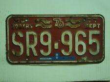 1977 MISSOURI RV 200 years Bicentennial License Plate SR9 965 tag