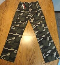 LR Scoop Cargo Pants Green Camouflage Camo  Size 14 x 27 Inseam NWT - Free Ship