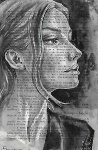 original painting 13,5 x 21,5 cm 249LN book page art watercolor woman portrait