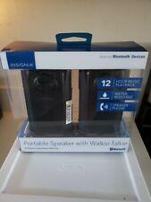 Insignia- Portable Bluetooth Speaker w/ Walkie-Talkie - Black 1.2 mile range NIB