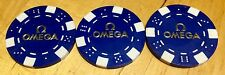 OMEGA ufficiale POKER CHIPS JETONS JAMES BOND AGENTE 007 Casinò Royale BLU OEM