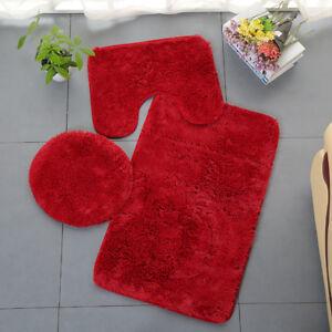 Mat Contour Rug Toilet Lid Cover 3 Piece Pure Color Plush Bathroom Rug Set Bath