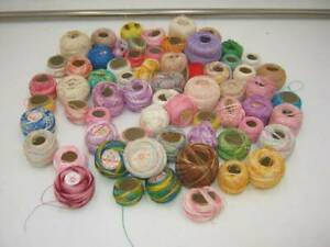 Lot of Vintage Tatting or Crochet Thread Over 60 Skeins Multi-Color & Weights