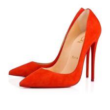 NIB Christian Louboutin So Kate 120 Red Orange Bisou Suede Classic Heel Pump 41