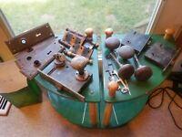 Lot 3 Antique Interior Lock Sets, Keys 5 Knobs 2 Strike Plates 4 Plates 4 Hinges