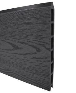 WPC Sichtschutz Zaun Steckzaun Paneel Brett Anthrazit System 183,6 x 21 x 2 cm