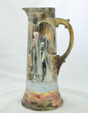 """Antique Wm Guerin W G & Co Limoges France Tankard Hand Painted Friar Beer 14.5"""""""