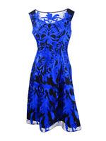 Aidan Mattox Women's Sleeveless Embroidered Dress (4, Black Blue)