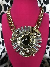Betsey Johnson Vintage HUGE Gold Mirror Medallion Art Deco Chain Necklace RARE