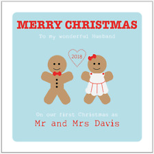 Personalised Our First Christmas Together Gingerbread Men Card Husband Wife